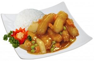 M10. Kuře ve sladkokyselé omáčce, rýže - 85 Kč