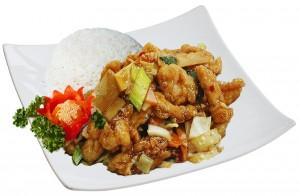 M14. Kuře v česnekové omáčce, rýže - 95 Kč