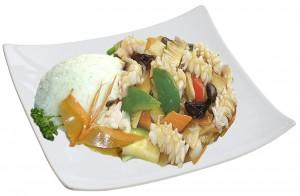 M53. Sépie se zeleninou, rýže - 105 Kč