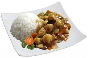 M56. Krevety s bambusem a houbami, rýže - 119 Kč